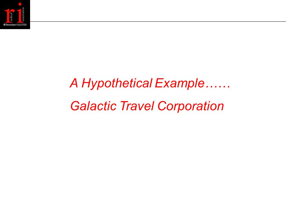 A Hypothetical Example…… Galactic Travel Corporation
