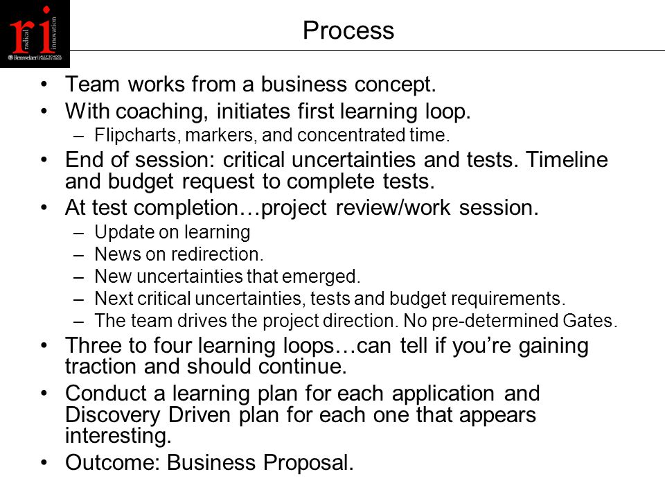 Process Team works from a business concept. With coaching, initiates first learning loop.