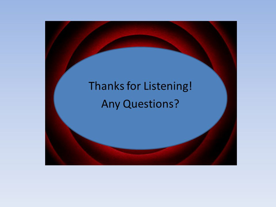 Thanks for Listening! Any Questions?