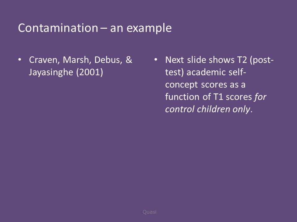 Contamination – an example Craven, Marsh, Debus, & Jayasinghe (2001) Next slide shows T2 (post- test) academic self- concept scores as a function of T1 scores for control children only.