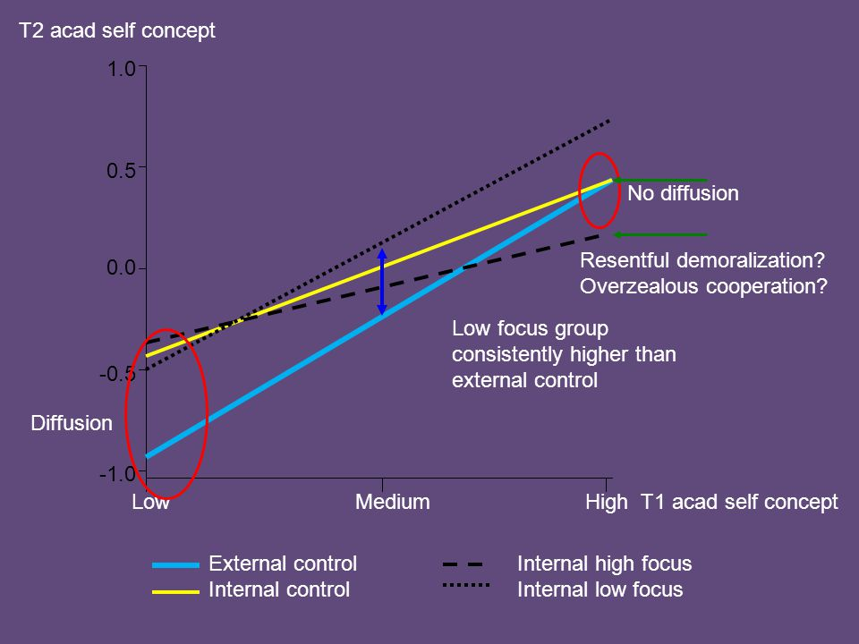 External control Internal control Internal high focus Internal low focus 1.0 0.5 0.0 -0.5 LowMediumHigh T1 acad self concept Diffusion No diffusion T2 acad self concept Low focus group consistently higher than external control Resentful demoralization.