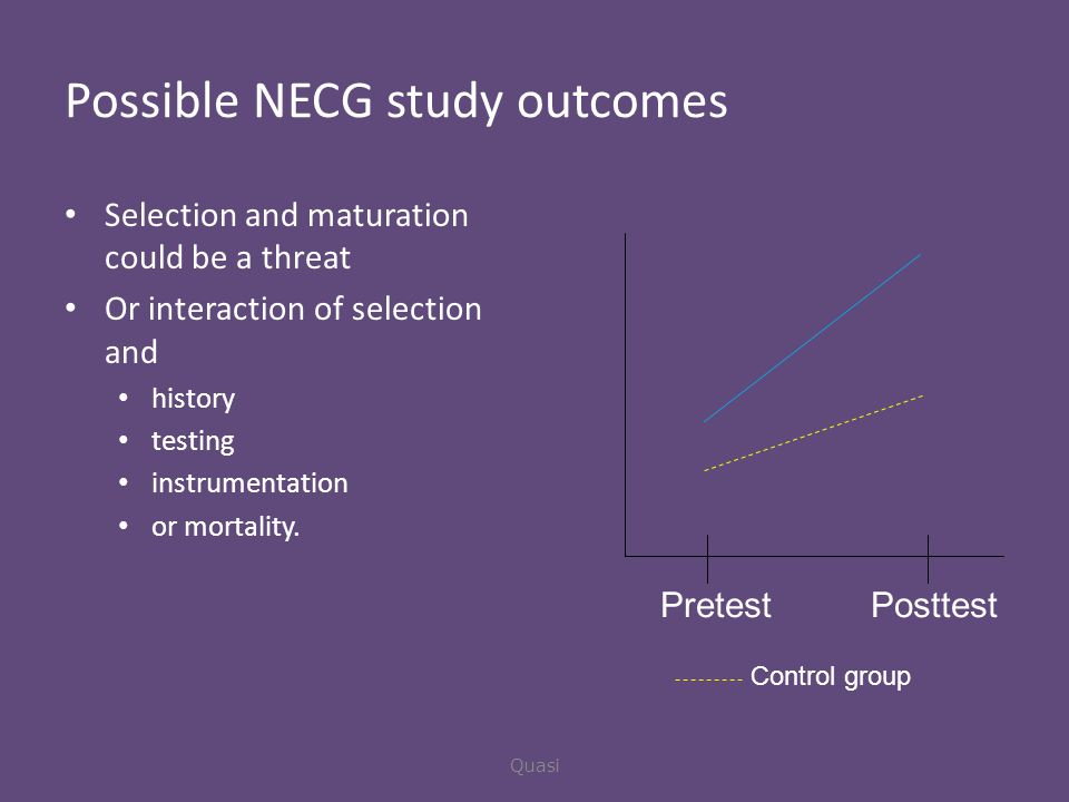 Possible NECG study outcomes Selection and maturation could be a threat Or interaction of selection and history testing instrumentation or mortality.