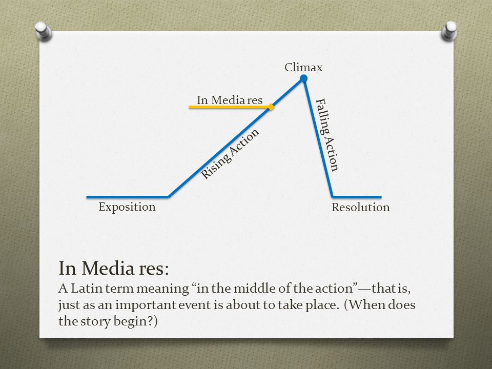 """In Media res: A Latin term meaning """"in the middle of the action""""—that is, just as an important event is about to take place. (When does the story begi"""