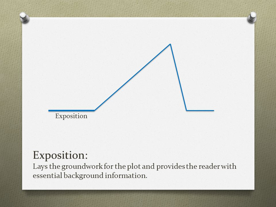 Exposition: Lays the groundwork for the plot and provides the reader with essential background information. Exposition