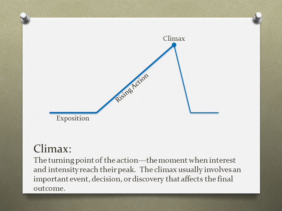 Climax: The turning point of the action—the moment when interest and intensity reach their peak. The climax usually involves an important event, decis