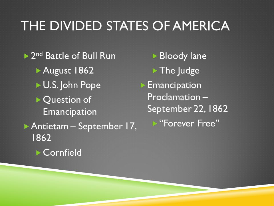 THE DIVIDED STATES OF AMERICA  2 nd Battle of Bull Run  August 1862  U.S.