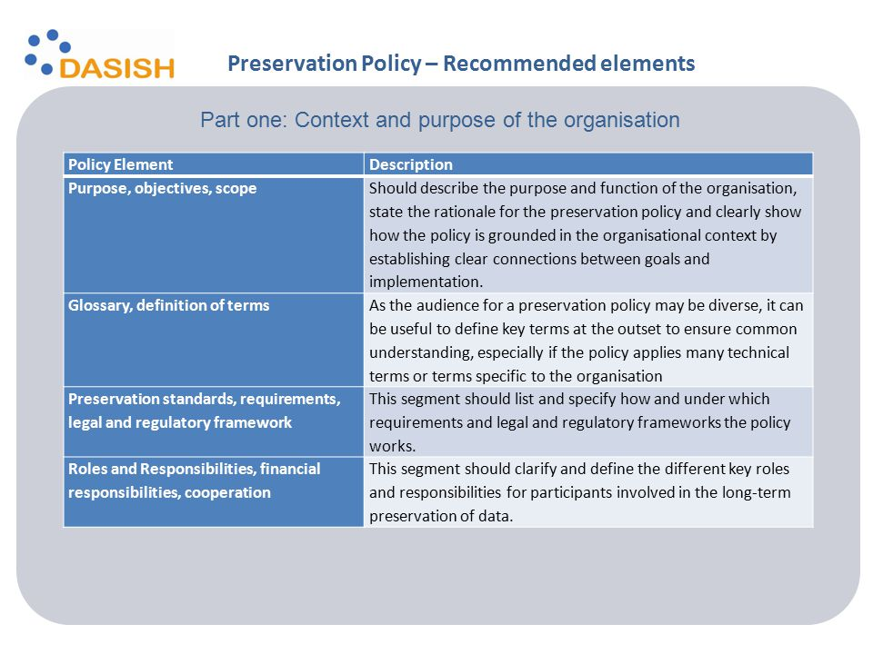 Policy ElementDescription Purpose, objectives, scope Should describe the purpose and function of the organisation, state the rationale for the preservation policy and clearly show how the policy is grounded in the organisational context by establishing clear connections between goals and implementation.