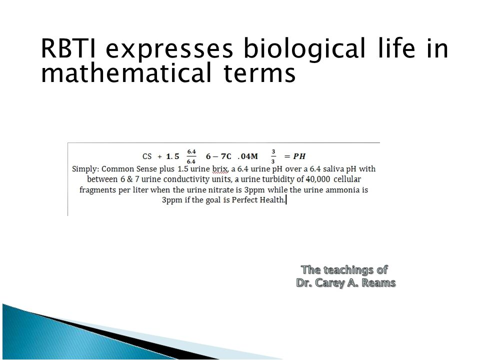 RBTI expresses biological life in mathematical terms