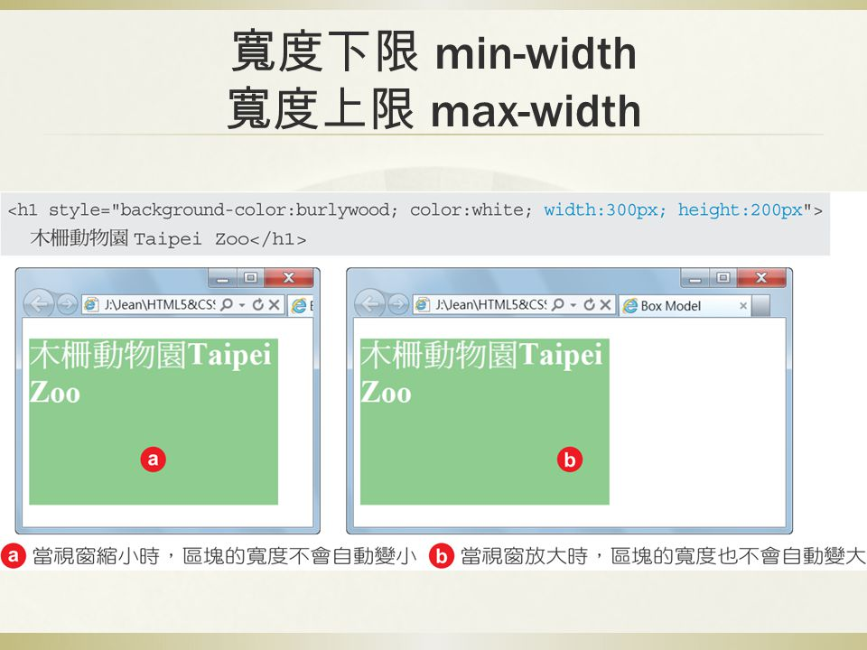 寬度下限 min-width 寬度上限 max-width