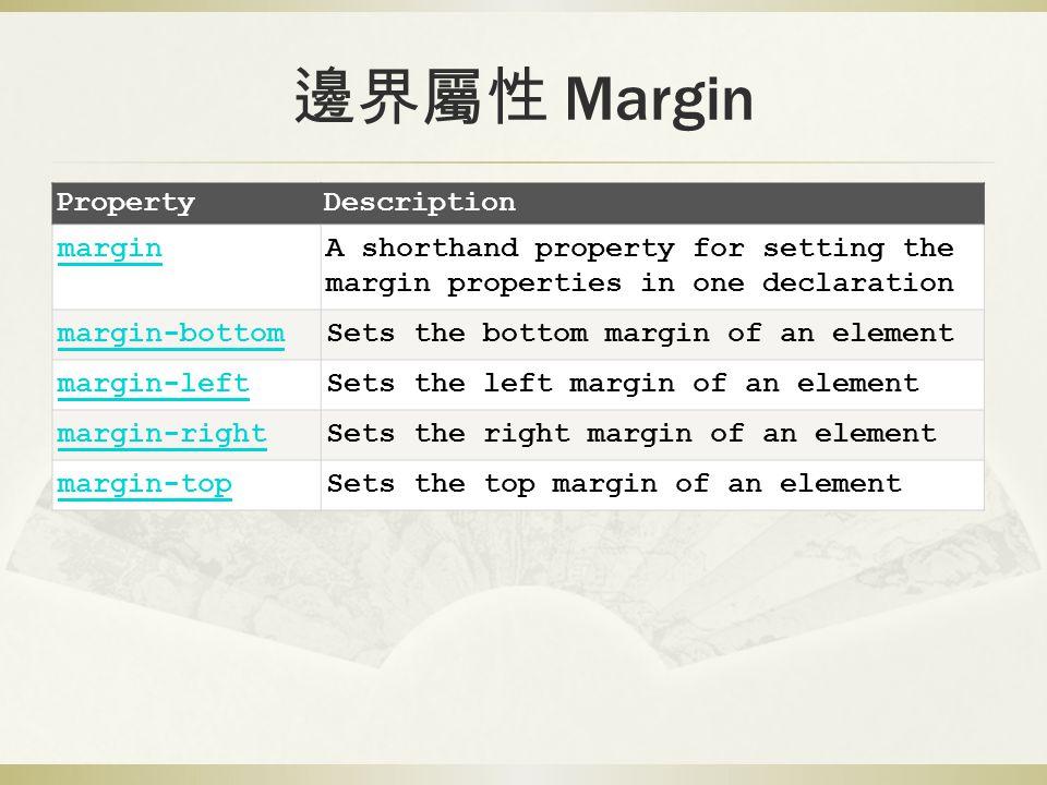 邊界屬性 Margin PropertyDescription marginA shorthand property for setting the margin properties in one declaration margin-bottomSets the bottom margin of an element margin-leftSets the left margin of an element margin-rightSets the right margin of an element margin-topSets the top margin of an element