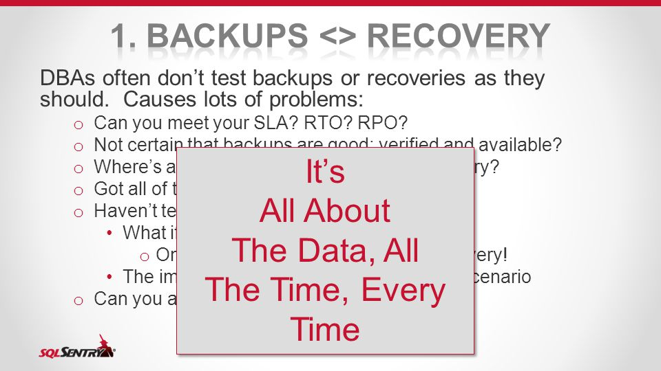 DBAs often don't test backups or recoveries as they should.