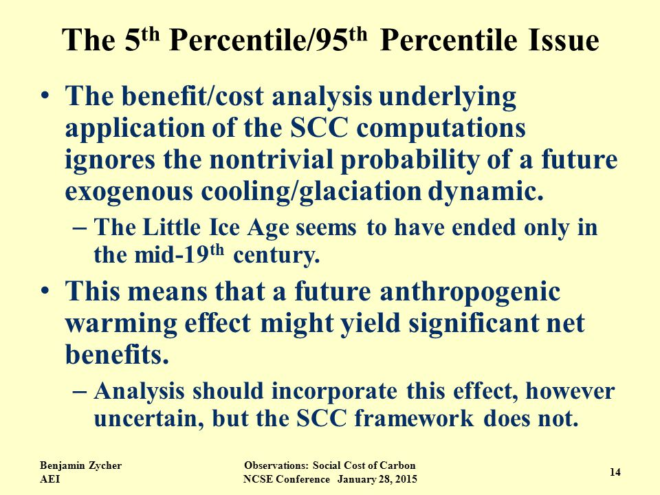 The 5 th Percentile/95 th Percentile Issue The benefit/cost analysis underlying application of the SCC computations ignores the nontrivial probability of a future exogenous cooling/glaciation dynamic.