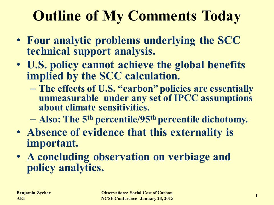 Outline of My Comments Today Four analytic problems underlying the SCC technical support analysis.