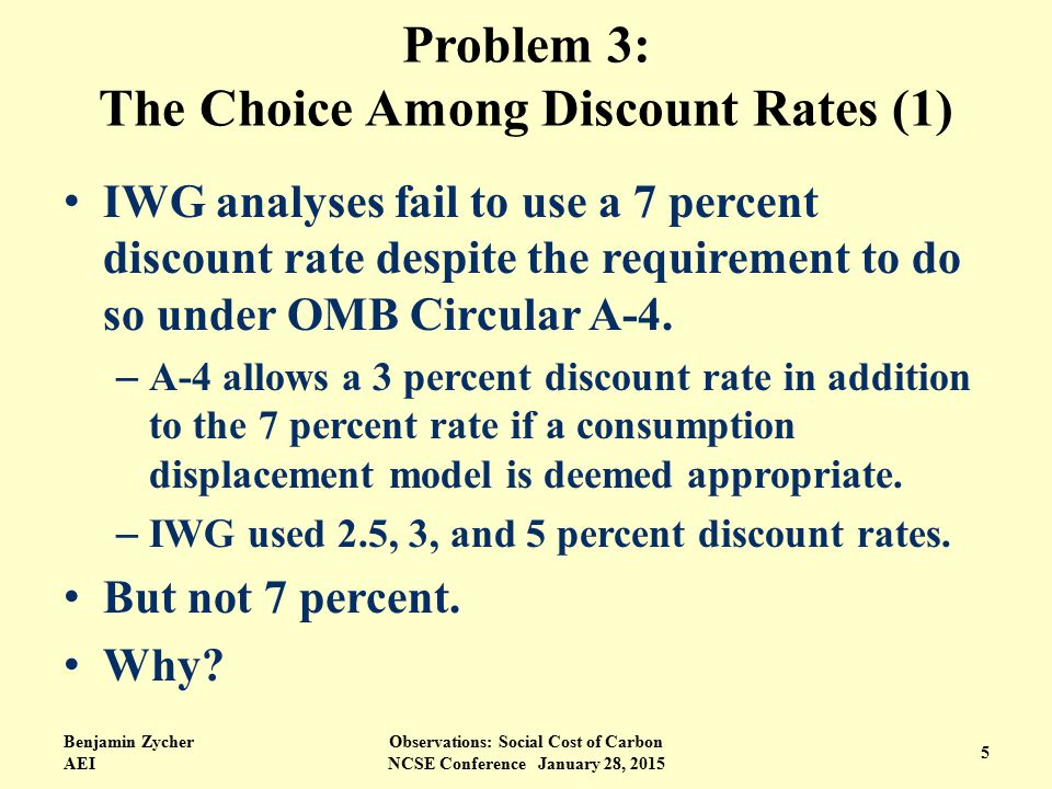 Problem 3: The Choice Among Discount Rates (1) IWG analyses fail to use a 7 percent discount rate despite the requirement to do so under OMB Circular A-4.