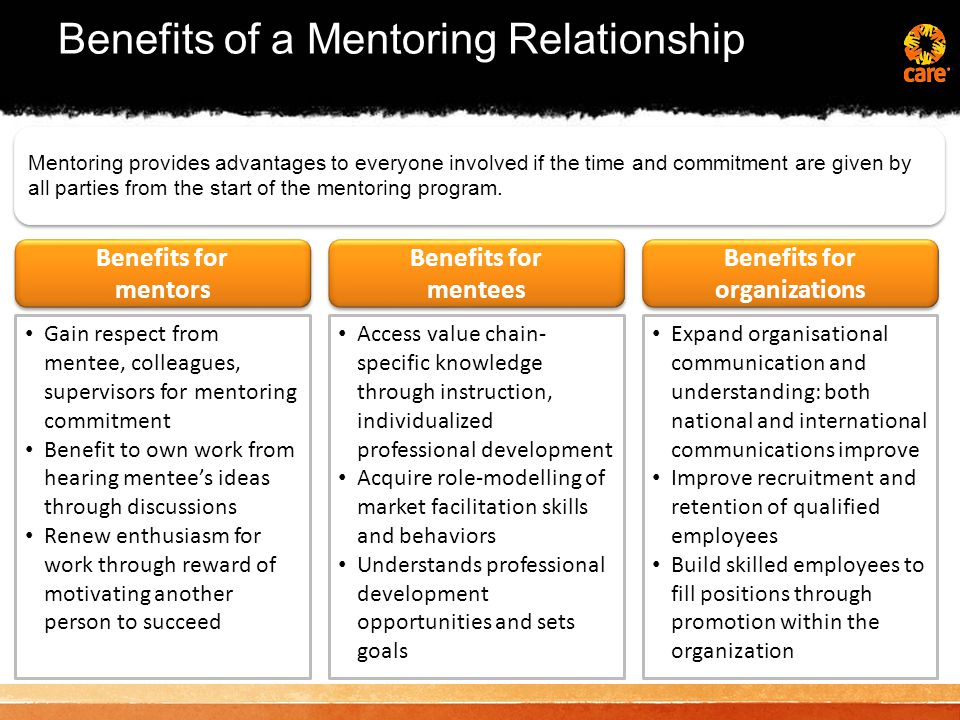 Components of an effective mentoring relationship Share information, knowledge, experiences and wisdom Provide valuable opportunities by facilitating networking and increasing contacts Challenge, stimulate curiosity and build confidence by presenting new opportunities, ideas and challenges Help mentees set goals, discover talents, interests and define and attain their goals Support mentees by encouraging their growth and achievement by providing an open and supportive environment Be a role model for your mentee, share stories of your achievements and failures / challenges Ask powerful questions to facilitate the mentee's discovery and learning process, and advance your own learning and development as a mentor Share information, knowledge, experiences and wisdom Provide valuable opportunities by facilitating networking and increasing contacts Challenge, stimulate curiosity and build confidence by presenting new opportunities, ideas and challenges Help mentees set goals, discover talents, interests and define and attain their goals Support mentees by encouraging their growth and achievement by providing an open and supportive environment Be a role model for your mentee, share stories of your achievements and failures / challenges Ask powerful questions to facilitate the mentee's discovery and learning process, and advance your own learning and development as a mentor Formal mentoring usually involves specific goals in terms of professional development.