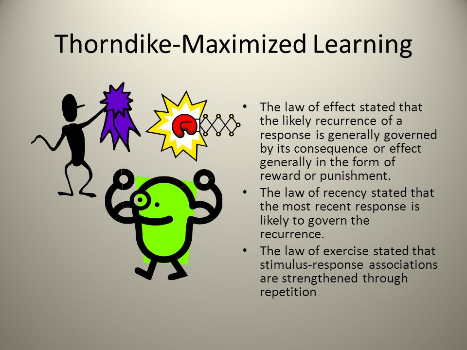 Thorndike s Theory of Learning 1)The most basic form of learning is trial and error learning.
