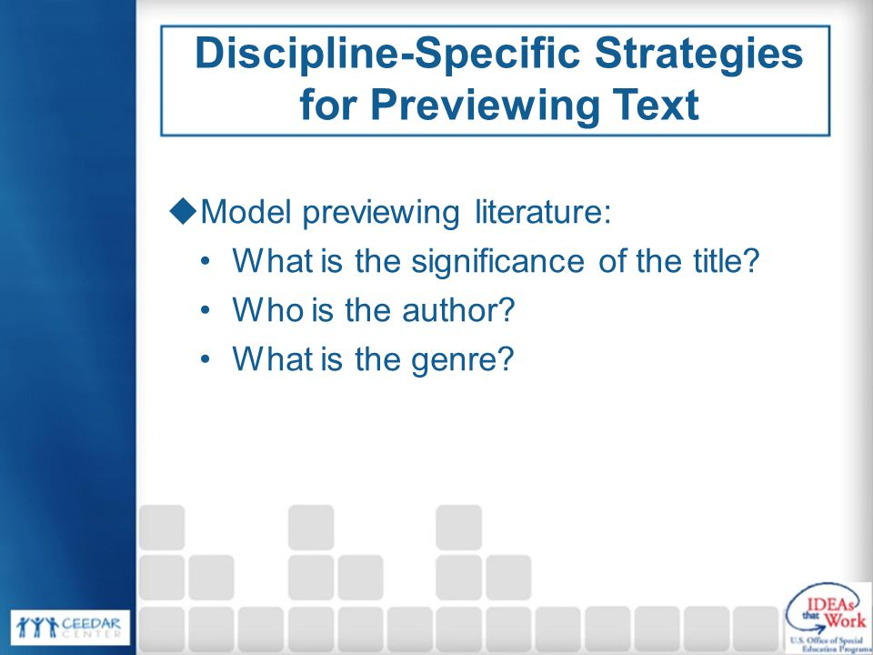Discipline-Specific Strategies for Previewing Text  Model previewing literature: What is the significance of the title.