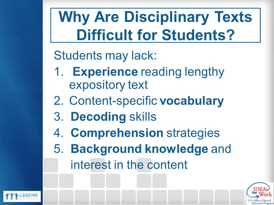 Why Are Disciplinary Texts Difficult for Students.