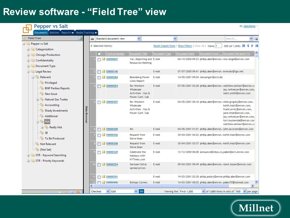 Review software - Field Tree view