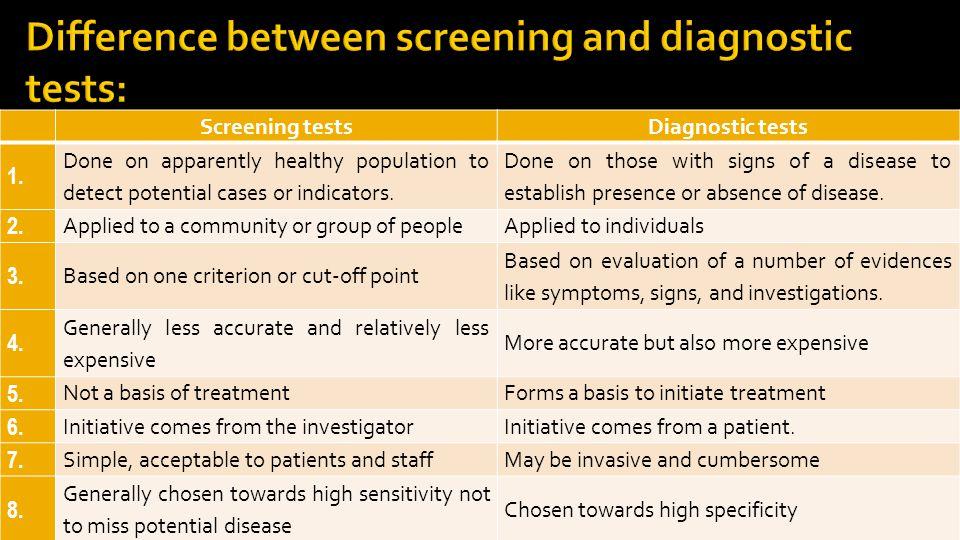 5 Screening testsDiagnostic tests 1.