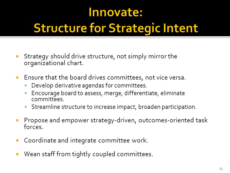  Strategy should drive structure, not simply mirror the organizational chart.