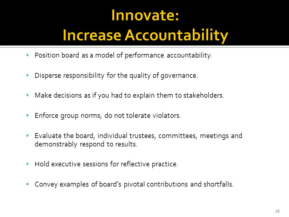 Position board as a model of performance accountability.