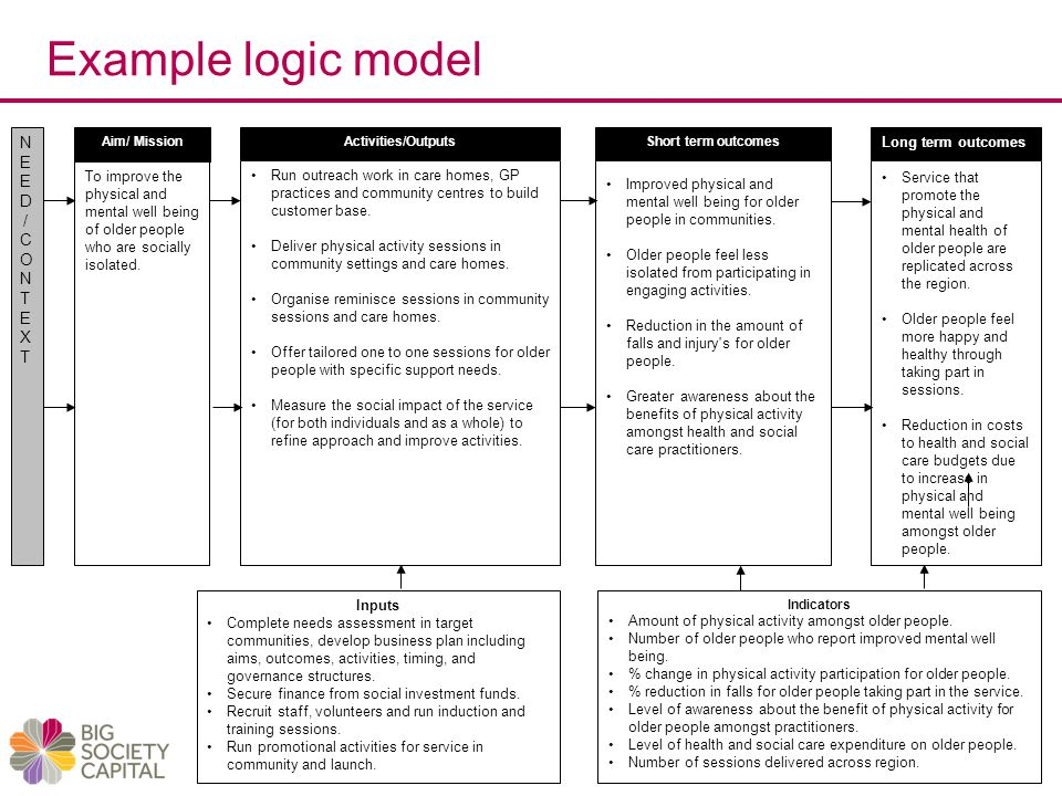 Example logic model To improve the physical and mental well being of older people who are socially isolated.