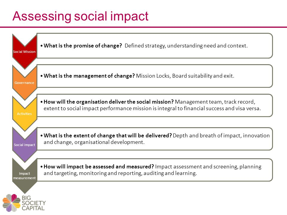 Assessing social impact Social Mission What is the promise of change.