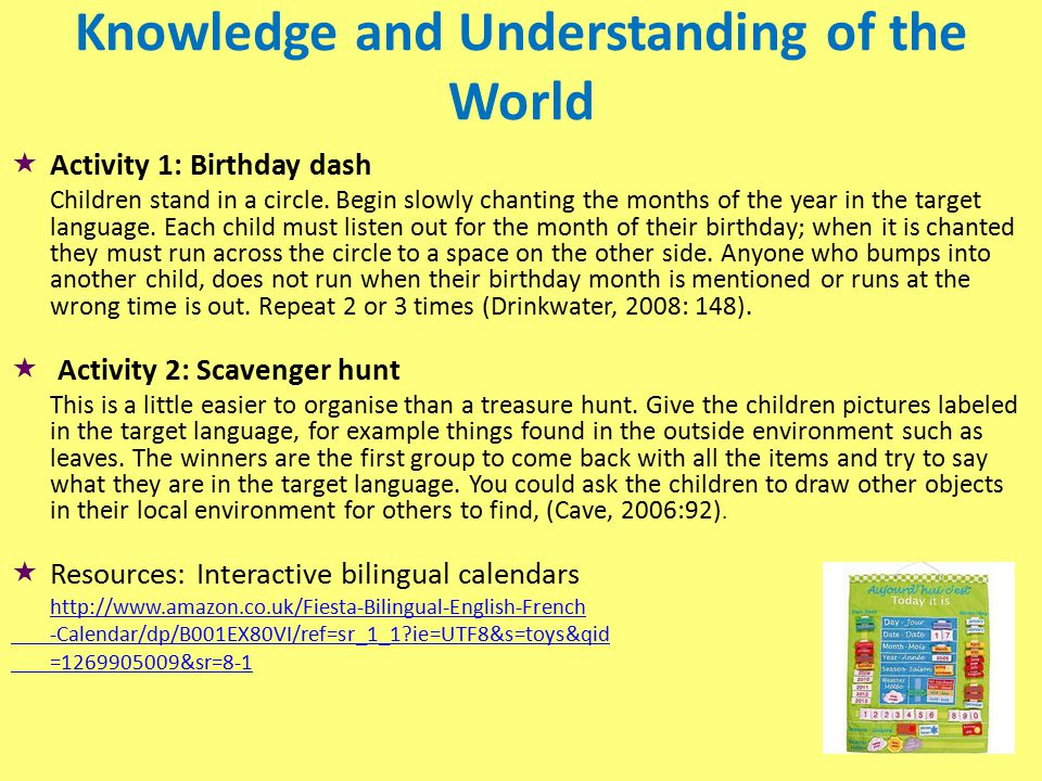 Knowledge and Understanding of the World  Activity 1: Birthday dash Children stand in a circle.