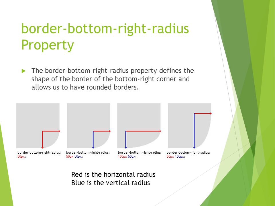 border-bottom-right-radius Property  The border-bottom-right-radius property defines the shape of the border of the bottom-right corner and allows us to have rounded borders.