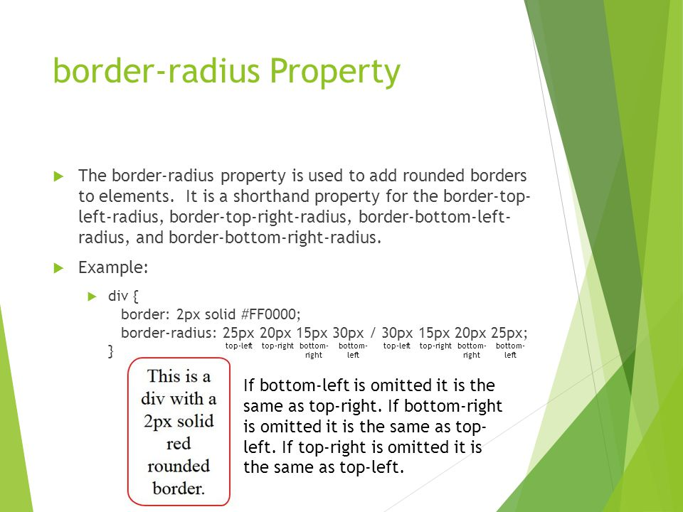 border-radius Property  The border-radius property is used to add rounded borders to elements. It is a shorthand property for the border-top- left-ra
