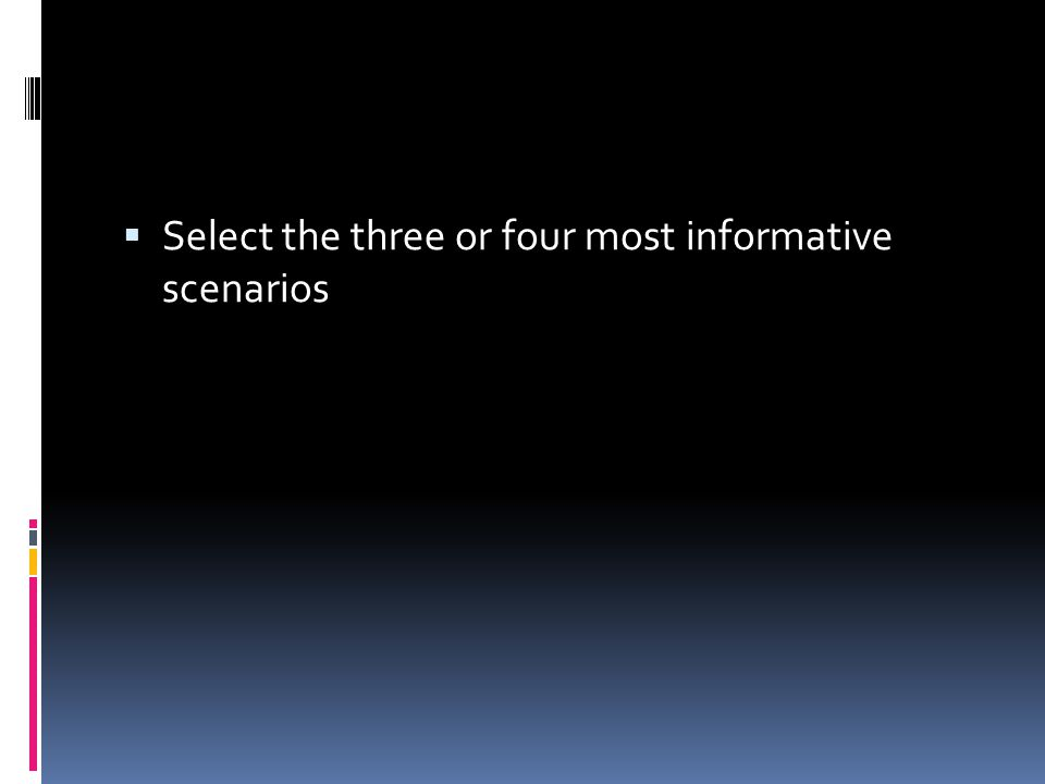  Select the three or four most informative scenarios