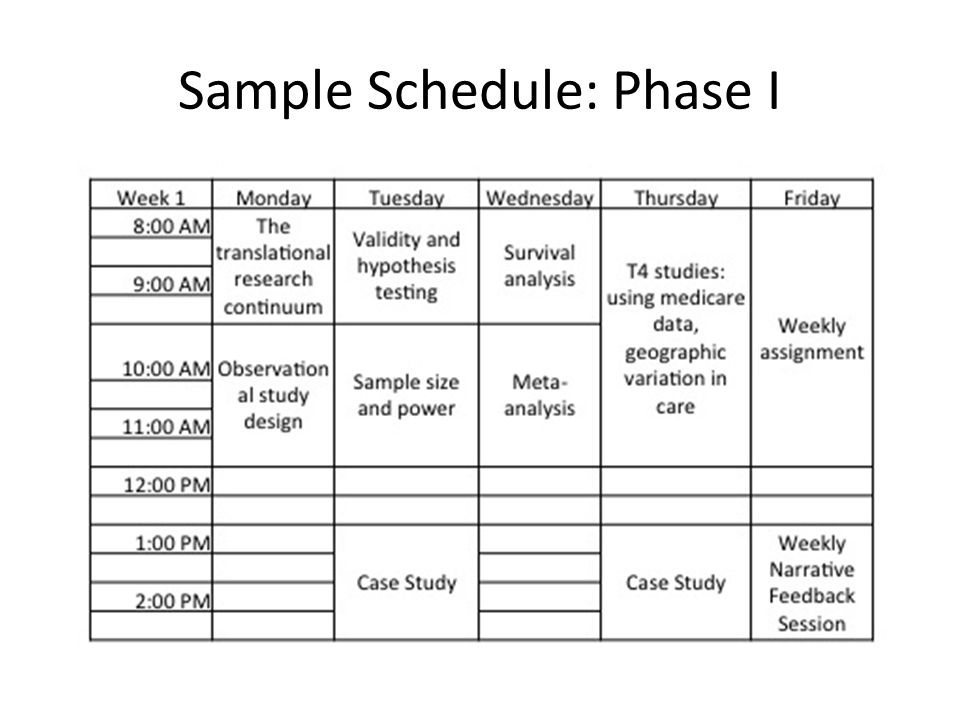 Sample Schedule: Phase I