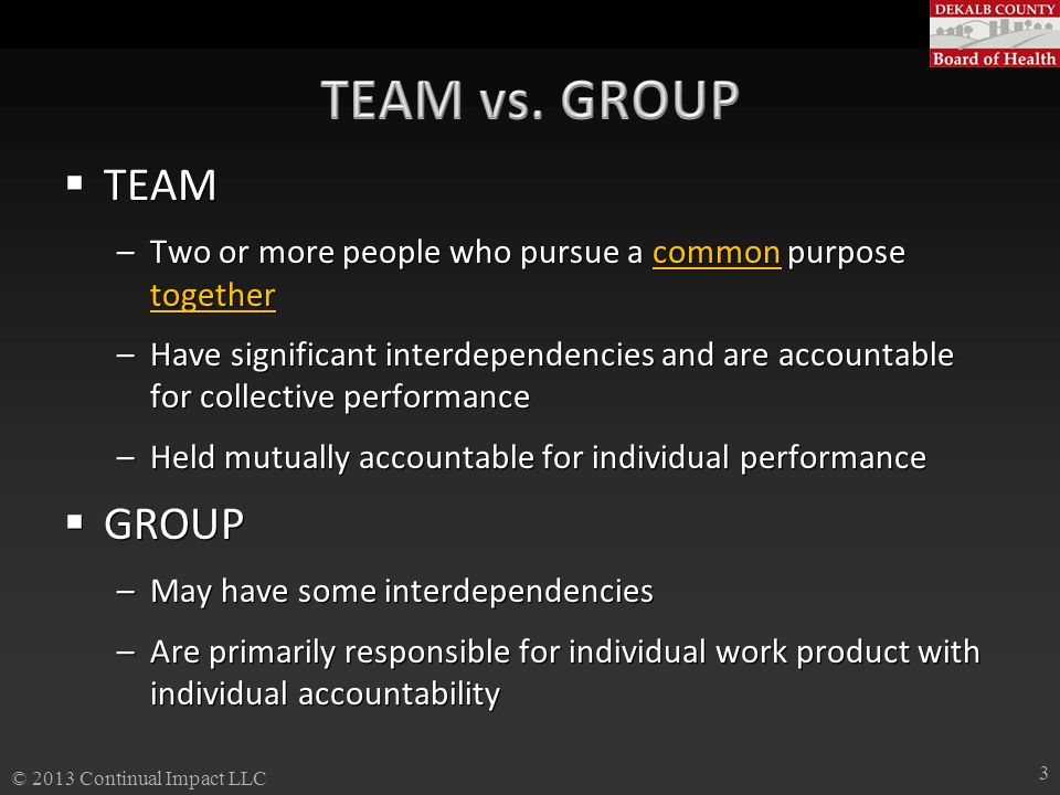  TEAM –Two or more people who pursue a common purpose together –Have significant interdependencies and are accountable for collective performance –He