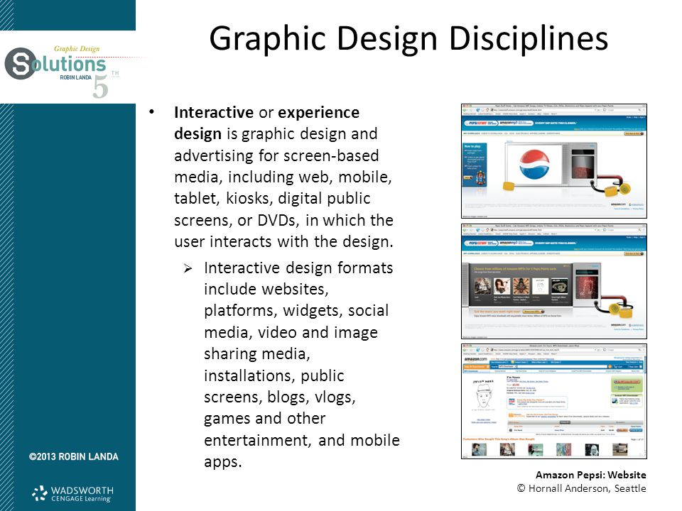 Graphic Design Disciplines Interactive or experience design is graphic design and advertising for screen-based media, including web, mobile, tablet, k