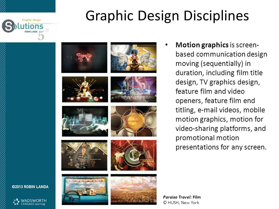 Graphic Design Disciplines Motion graphics is screen- based communication design moving (sequentially) in duration, including film title design, TV gr