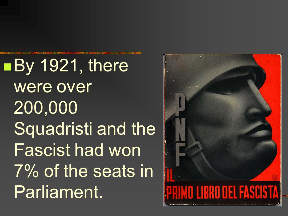 By 1921, there were over 200,000 Squadristi and the Fascist had won 7% of the seats in Parliament.