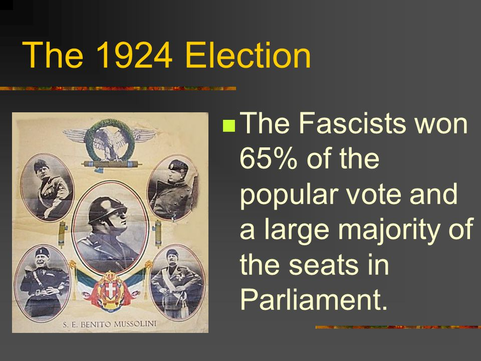 The 1924 Election The Fascists won 65% of the popular vote and a large majority of the seats in Parliament.