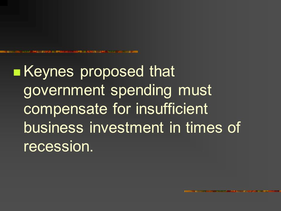 Keynes proposed that government spending must compensate for insufficient business investment in times of recession.