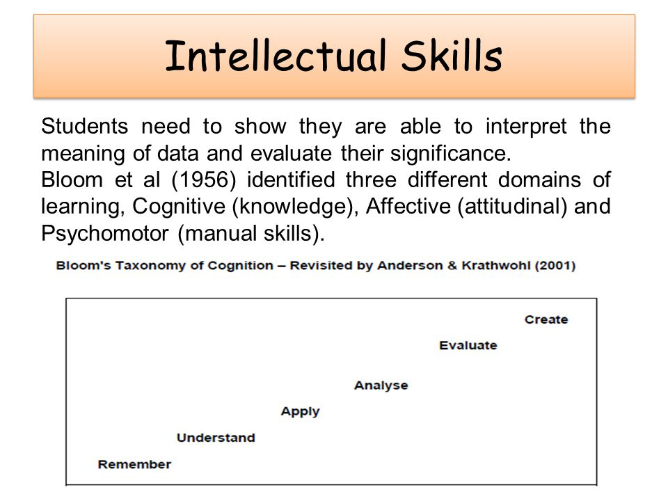 Intellectual Skills Students need to show they are able to interpret the meaning of data and evaluate their significance. Bloom et al (1956) identifie