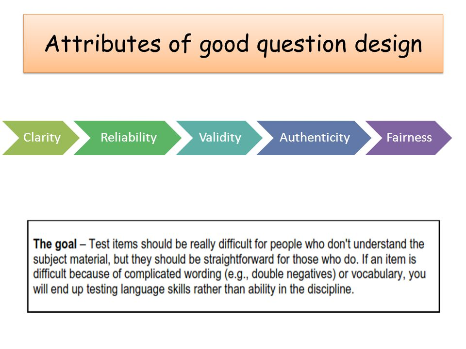 Attributes of good question design ClarityReliabilityValidityAuthenticityFairness