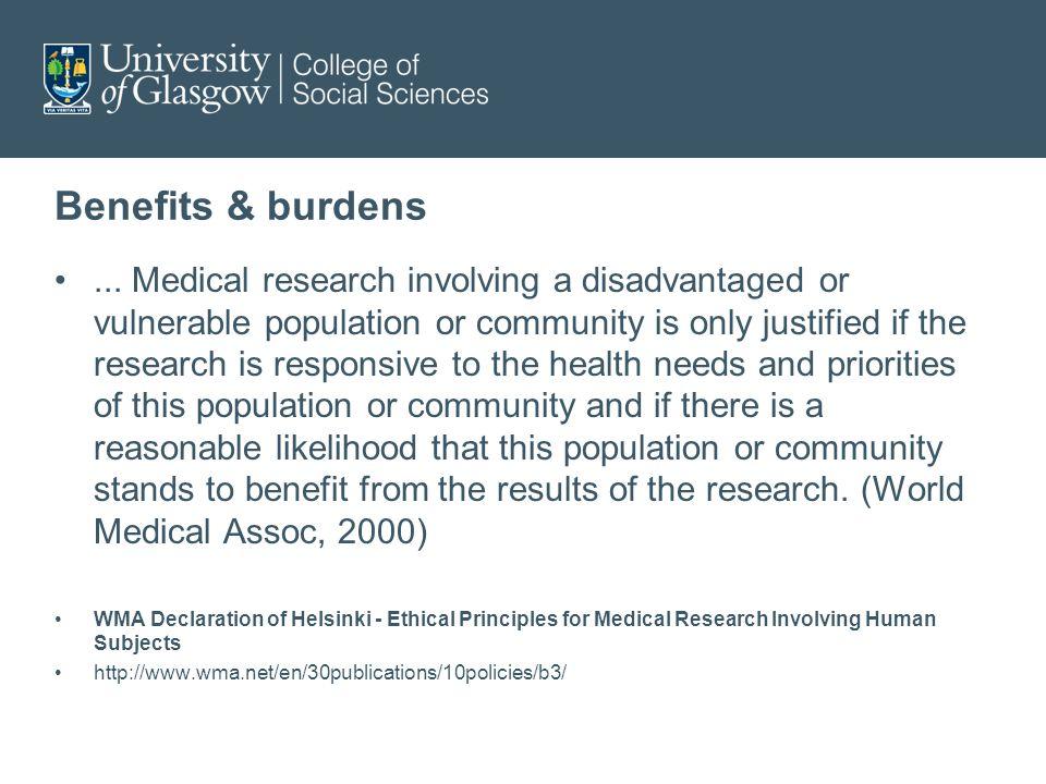 Benefits & burdens...