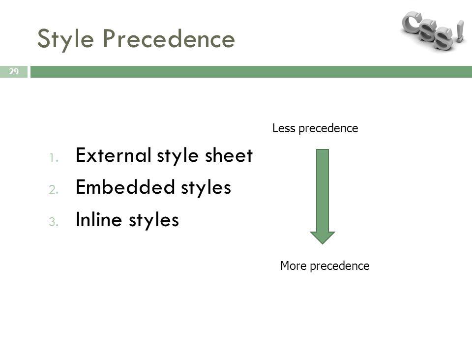 Style Precedence 29 1. External style sheet 2. Embedded styles 3. Inline styles Less precedence More precedence