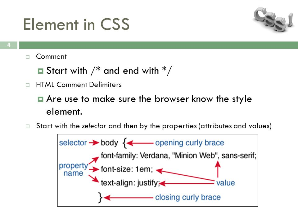 Element in CSS 4  Comment  Start with /* and end with */  HTML Comment Delimiters  Are use to make sure the browser know the style element.