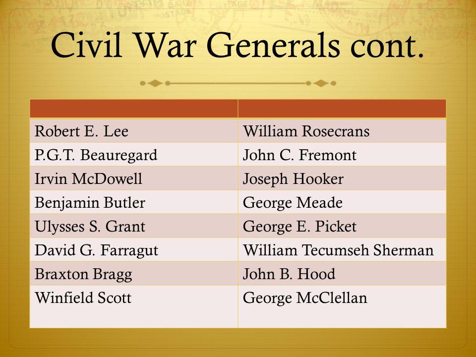 Civil War Generals cont. Robert E. LeeWilliam Rosecrans P.G.T. BeauregardJohn C. Fremont Irvin McDowellJoseph Hooker Benjamin ButlerGeorge Meade Ulyss