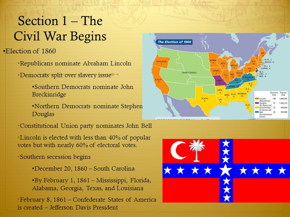 Section 1 – The Civil War Begins Election of 1860 Republicans nominate Abraham Lincoln Democrats split over slavery issue Southern Democrats nominate
