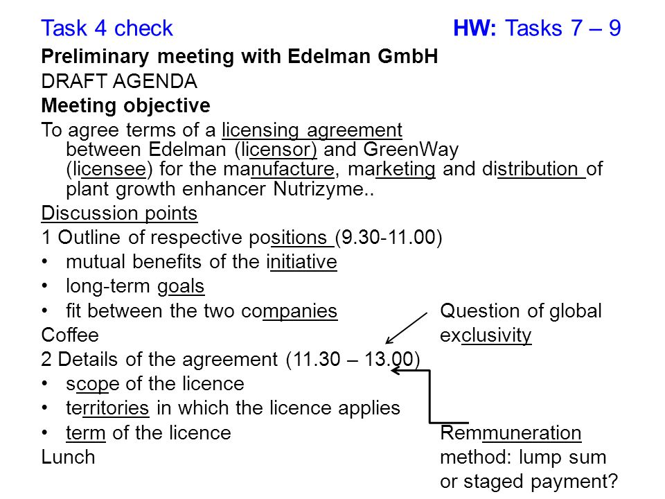 Task 4 check HW: Tasks 7 – 9 Preliminary meeting with Edelman GmbH DRAFT AGENDA Meeting objective To agree terms of a licensing agreement between Edel
