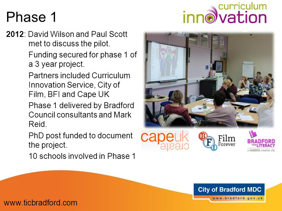 2012: David Wilson and Paul Scott met to discuss the pilot. Funding secured for phase 1 of a 3 year project. Partners included Curriculum Innovation S