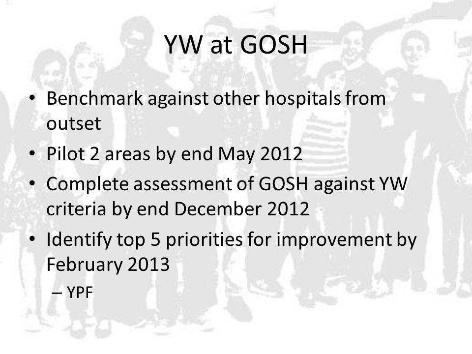 YW at GOSH Benchmark against other hospitals from outset Pilot 2 areas by end May 2012 Complete assessment of GOSH against YW criteria by end December 2012 Identify top 5 priorities for improvement by February 2013 – YPF