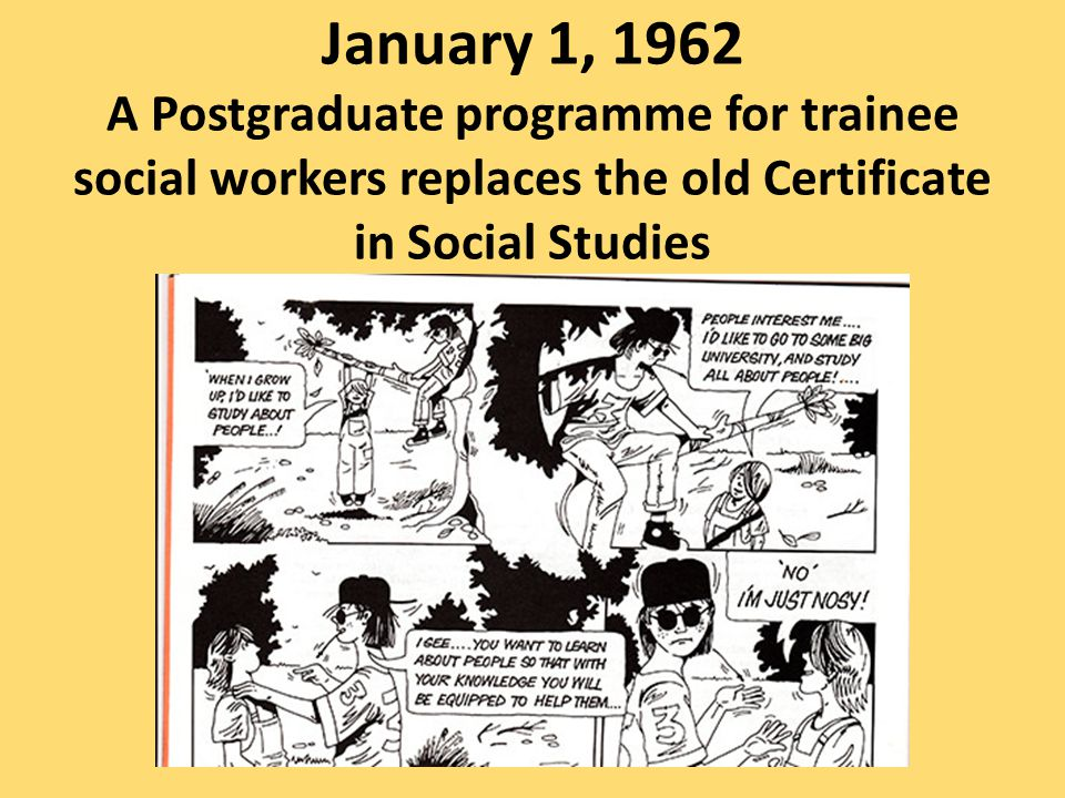 January 1, 1962 A Postgraduate programme for trainee social workers replaces the old Certificate in Social Studies